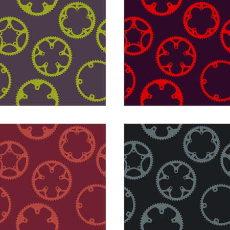 mtb: Vector pack of bike chainrings seamless pattern