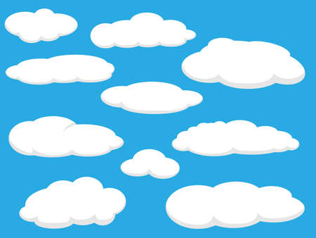 blue sky clouds: Cartoon clouds vector illustration pack Illustration
