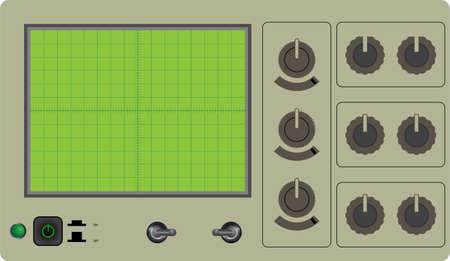 Vector illustration of one oscilloscope