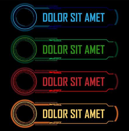 Colorful hi-tech buttons vector set