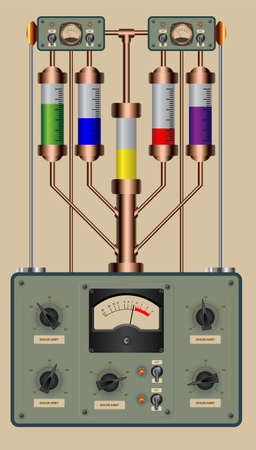 Editable vector illustration of analog control panel of a steampunk style device Illustration