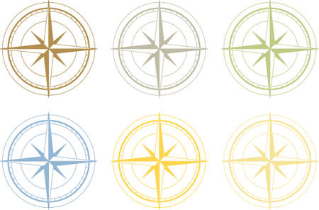 compass: set of colorful wind rose Illustration