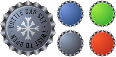 bottle label: Colorful bottle caps set