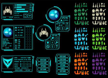 戦略宇宙ビデオ ゲーム - のベクトル要素あなた自身の船設計を作成します。  イラスト・ベクター素材