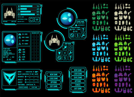 vector control illustration: Vector elements for strategy space video game - you can create your own ship design
