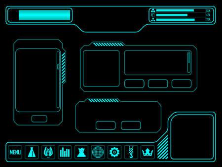 Elementos del vector para videojuego espacio