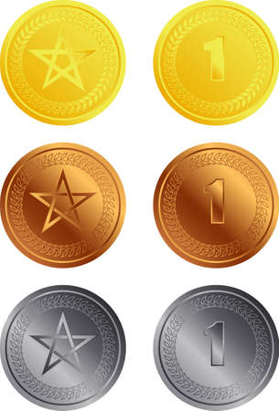 profit celebration: Vector illustration of shiny coins or medals
