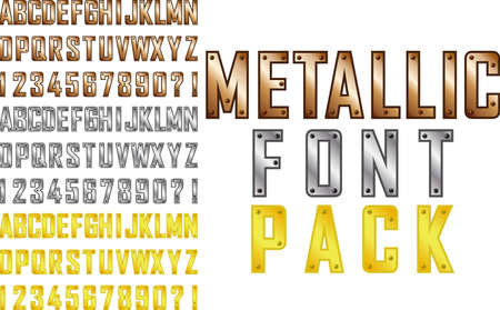 steampunk: Vector metallic steampunk style font pack