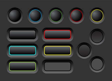 vector element: Dark user interface vector buttons set