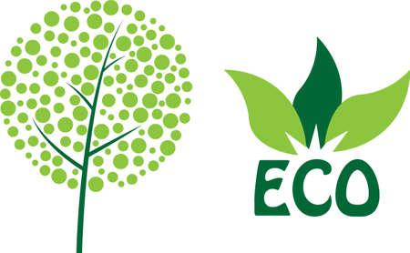 ecological environment: Simple green eco vector icons Illustration