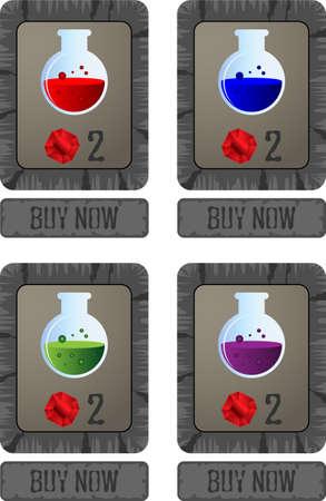 potion: Vector game potion shop menu