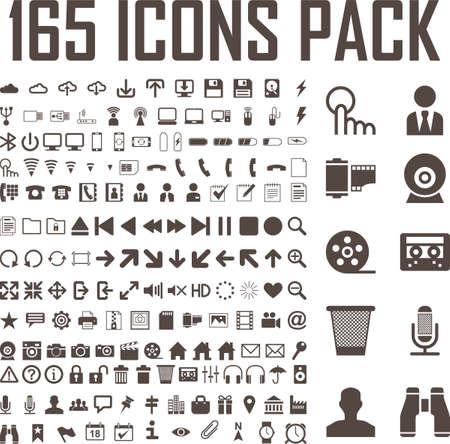 165 vlakke pictogrammen vector set