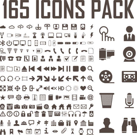 165 flat icons vector set