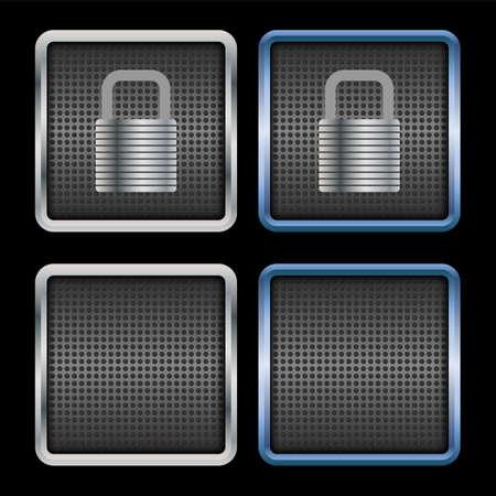 metallic: Metallic padlock icons pack Illustration
