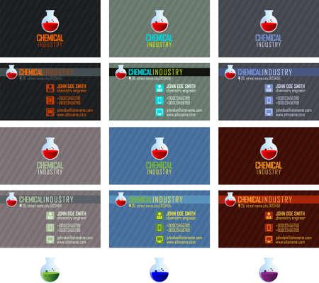 industria quimica: Las tarjetas de visita de la industria química paquete de vectores Vectores
