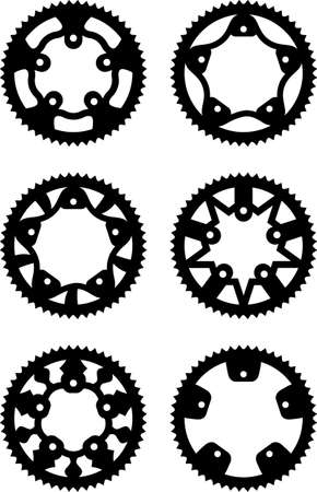 pack of bike chainrings and rear sprocket