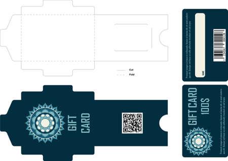 box design: Gift card design with envelope Illustration