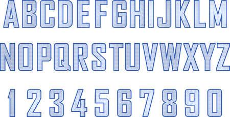 Blueprint style font set 矢量图像