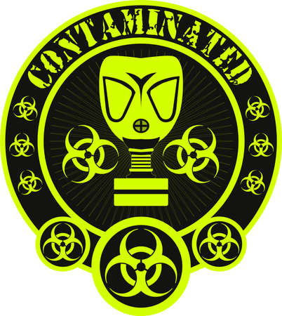 biohazard: Gas mask biohazard contaminated badge Illustration