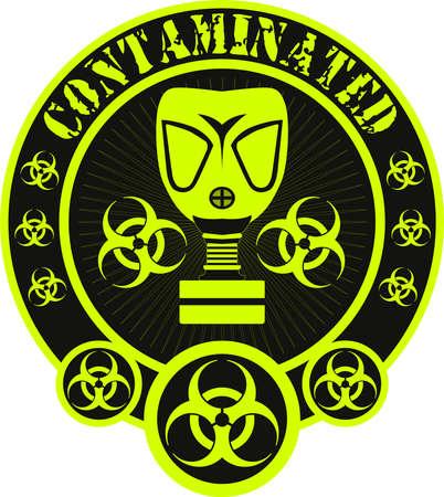Gas mask biohazard contaminated badge Illustration