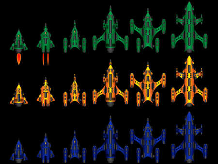 starship: Vector video game space ship fleet pack