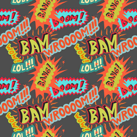 Multicolored comic sounds effects  vector seamless pattern