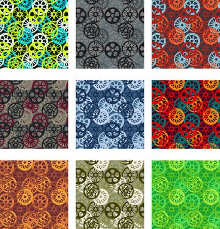 Bike chainring pattern pack 矢量图像