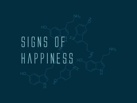 Serotonin chemical skeletal formula - signs of happiness Illustration