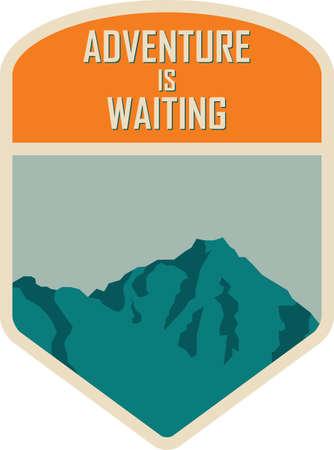 Adventure is waiting, vintage style badge.
