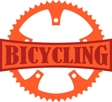 Orange Bicycling badge with a bike chain ring.