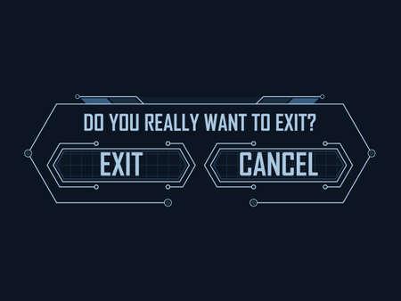 Hi-tech game exit menu Vector illustration.