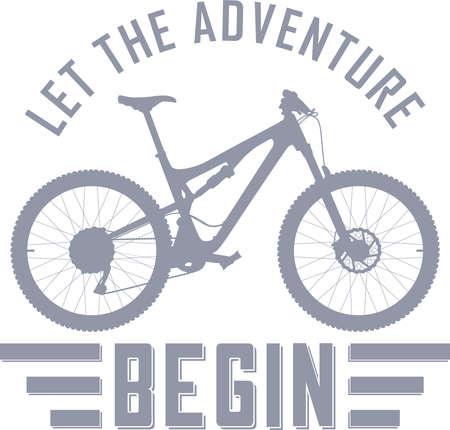 완전한 서스펜션 산악 자전거로 모험을 시작하자. 일러스트