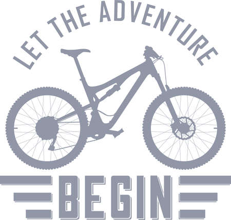 Let the Adventure Begin vector illustration with a full suspension mountain bike Illustration