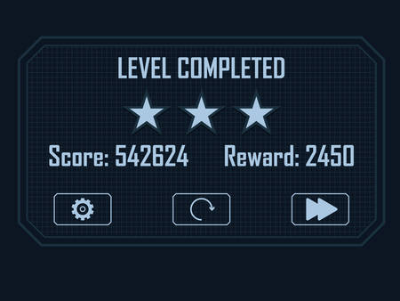 Level Completed Menu for hi-tech video game 일러스트