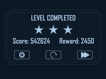 Level Completed Menu for hi-tech video game Illustration
