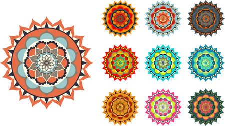 Colorful vector mandala set on white background illustration.