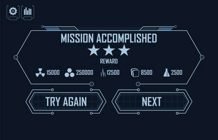 Level Completed Menu for hi-tech video game 矢量图像