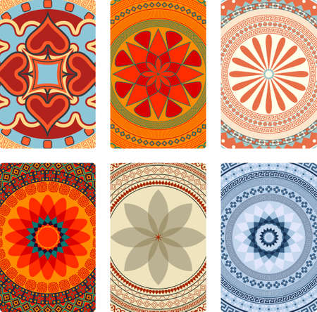 Colorful vector mandalas for playing cards