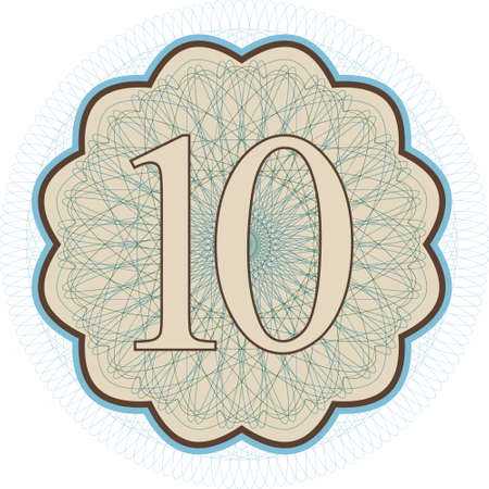 Editable guilloche vector pattern with number 10 on it