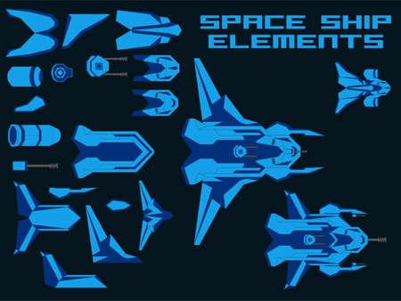 Vector Video Game Spaceship Creator Kit