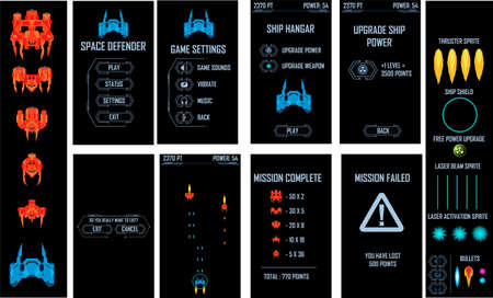 Space ship video game vector pack. All screens and elements included 矢量图像