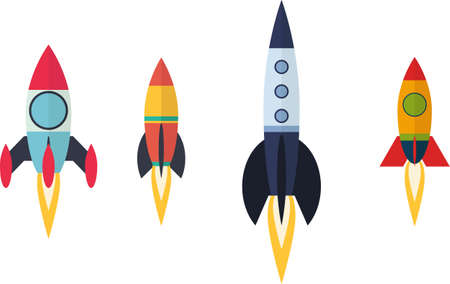 Colorful retro style vector rockets pack 矢量图像