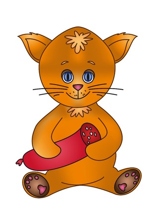 Vector illustration: a cheerful kitten with sausage Stock Vector - 6280641