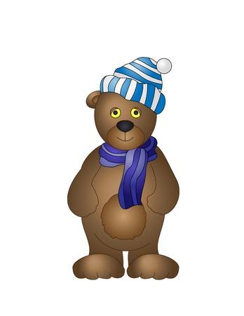 bear cub: Vector illustration: a toy bear cub in a cap and a scarf