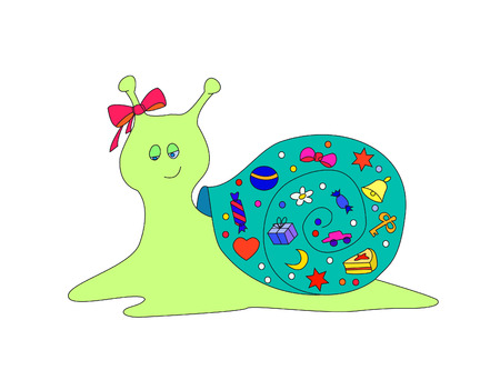Vector illustration: a snail with gifts Stock Vector - 6280640