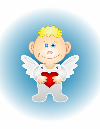 Illustration: isolated boy-angel in white holds heart Stock Vector - 6369274