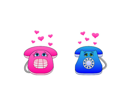 Illustration: isolated Desktop phones, enamoured each other, communicate calls Vector