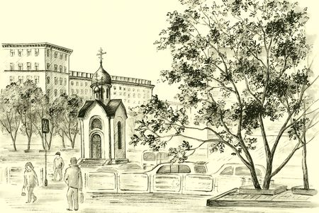 Illustration: drawing distemper on a paper: the Chapel in honour of sacred Nikolay, Russia, Novosibirsk illustration