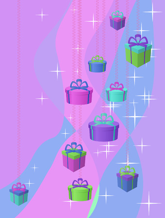 Background: stars and gift boxes on a colour background Vector