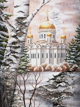 Photo: drawing distemper on a birch bark: the Temple of the Christ of the Savior, Russia, Moscow Stock Photo - 6506556